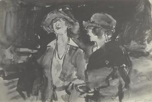 Twee wandelende dames op een boulevard