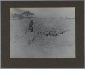 Schets van kudde schapen met herder en hond
