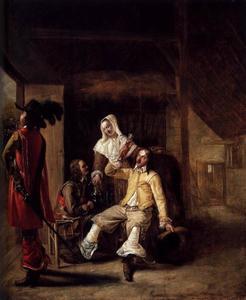 Stalinterieur met twee drinkende mannen, een trompetspeler en een dienstmeid