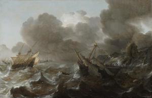 Schepen in moeilijkheden in een storm voor een rotsachtige kust