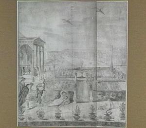 Paleistuin met gemaskerde galante figuren, op de achtergrond een op Venetië geïnspireerd stadsgezicht
