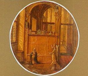Kerkinterieur met de annunciatie aan Maria