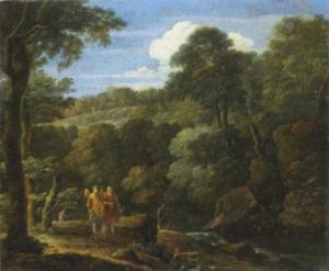 Tobias en de engel in een landschap