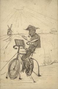 Mondriaan op de fiets bij de molen van Abcoude
