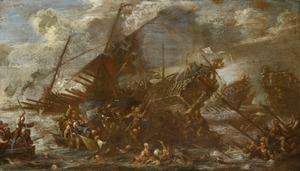 Zeeslag met zinkende schepen en vechtende figuren