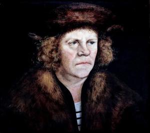 Portret van een onbekende man met een bruine baret van bont