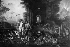 Allegorie van lucht en vuur: Venus en Vulcanus in een landschap