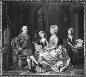 Portret van de familie Joost van Poot (1738-1796), Johanna Digna Sandra (1746-1822) en twee kinderen