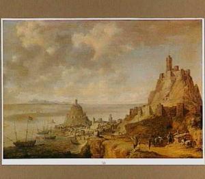 Kustgezicht met fortificaties (het eiland Gaeta bij Napels)