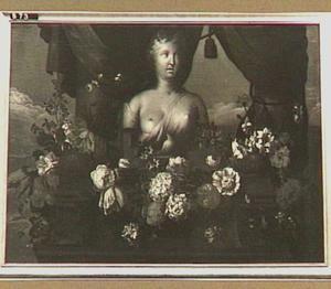 Venus-buste met bloemenguirlande