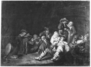 Rokende en kaartende soldaten, met een prostituee en een waardin in een interieur