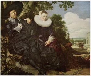 Huwelijksportret van Isaac Abrahamsz Massa (1586-..) en Beatrix van der Laan (1592-1639)