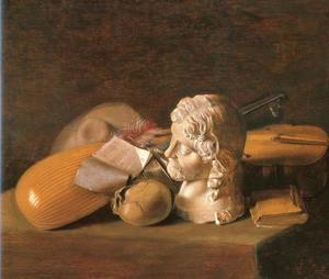 Vanitasstilleven met een theorbo en een viola da gamba