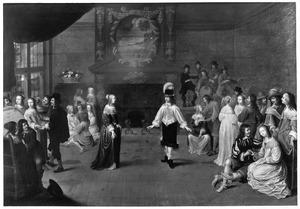 Elegant dansend paar in een interieur met toeschouwers