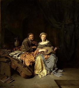 Luitspelende vrouw en man met viool