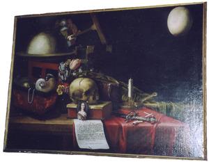 Vanitasstilleven met globe en struisvogelei