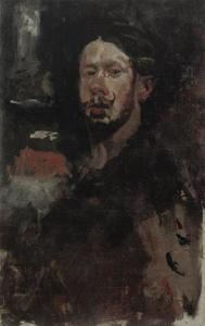 Zelfportret met snor en baard