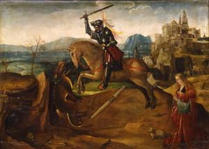 Sint Joris bestrijdt de draak om de prinses te bevrijden
