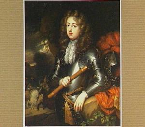 Portret van een man in harnas, op de achtergrond vechtende ruiters