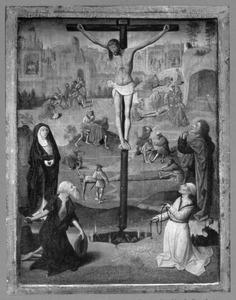De kruisiging met de Heilige Hieronymus en Dominicus; in de achtergrond andere scènes uit de passie