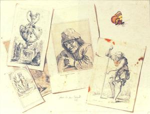 Een trompe l'oeil stilleven van een vlinder en een assortiment aan prenten naar Jacques Callot, David Tenier II, Salvator Rosa and Jacques-Louis David