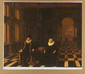 Portret van een echtpaar in een interieur