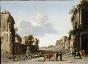Capriccio van Romeinse ruïnes met figuren en vee, de Engelenburcht op de achtergrond