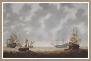 Vier fregatten en twee zeilboten op onrustige zee, met schepen aan de horizon