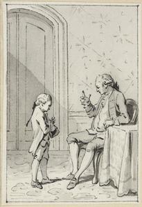 Illustratie voor 'De waare vriendschap' in de Kleine gedichten voor kinderen door H. van Alphen