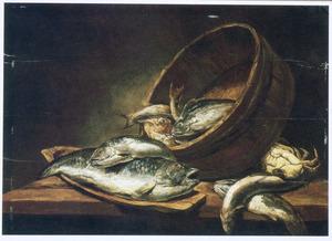 Visstilleven met diverse vissen en een krab