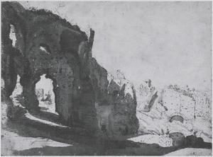 Ruines op de Palatijn, links de exedra van het stadium van Domitianus, rechts bogen van de aquaduct van Claudius-Nero, midden op de achtergrond St. Bonaventura