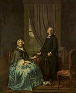 Portret van Petrus Bliek (1706-1797), remonstrants predikant in Amsterdam, met zijn vrouw Cornelia Drost