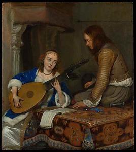 Luit spelende vrouw en een cavalier in een interieur