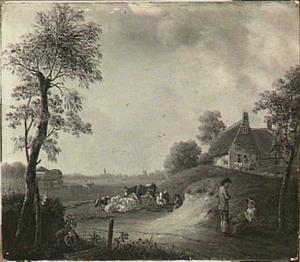 Figuren en vee in een weiland bij een boerderij
