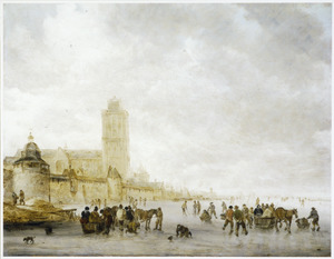 IJvermaak voor de stadswal van Dordrecht