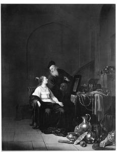 Interieur met een jonge vrouw bij een tafel met juwelen en een oude man met een schedel