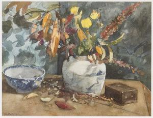Stilleven met herfstbloemen in een vaas