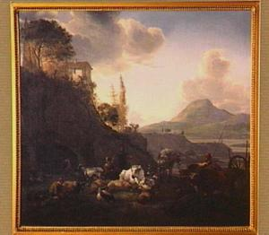 Italiaans landschap met herders en vee