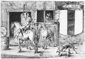 Soldaten met paarden voor een huis, rechts een wapenschild