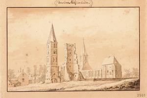Ruïne van de abdij van Egmond-Binnen gezien vanuit het noord-noordwesten