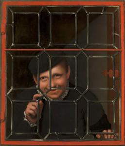 Jongen die door een venster kijkt