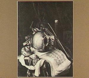 Vanitasstilleven met schedel, muziekboek, viool en schelpen