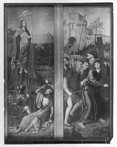De opstanding (links), de kruisdraging (rechts)