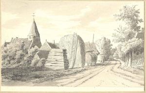 Rhenoy, gezicht in het dorp met de kerk