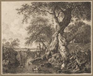 Vijver met eenden, een gans en een reiger, vissers en een jager op de achtergrond