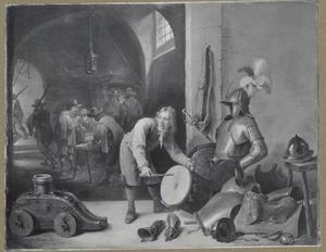 Interieur met jonge trommelaar bij een wapenuitrusting