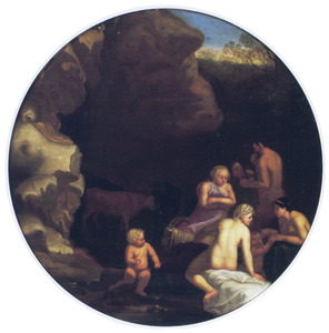 Nimfen en sater voor een grot
