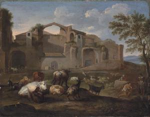 Herders en vee bij de ruïne van de baden van Diocletianus