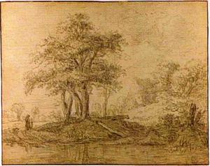 Landschap met eikenbomen bij een rivier