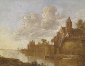 Rivierlandschap met stadsmuur, op de achtergrond de Grote Houtpoort te Haarlem